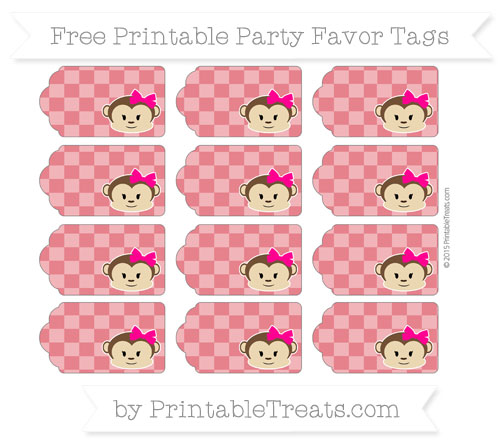 Free Lava Red Checker Pattern Girl Monkey Party Favor Tags