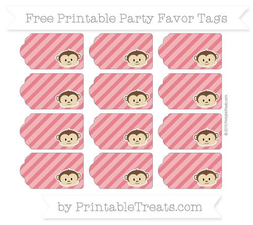 Free Lava Red Diagonal Striped Boy Monkey Party Favor Tags