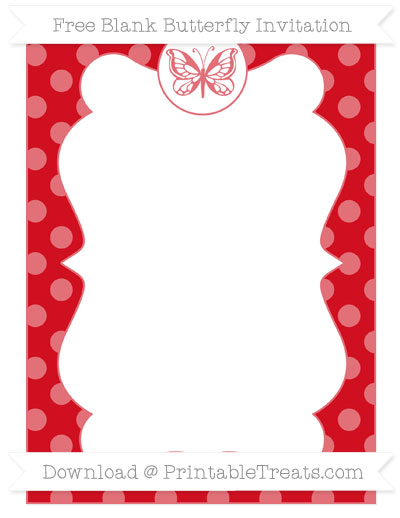 Free Lava Red Dotted Pattern Blank Butterfly Invitation