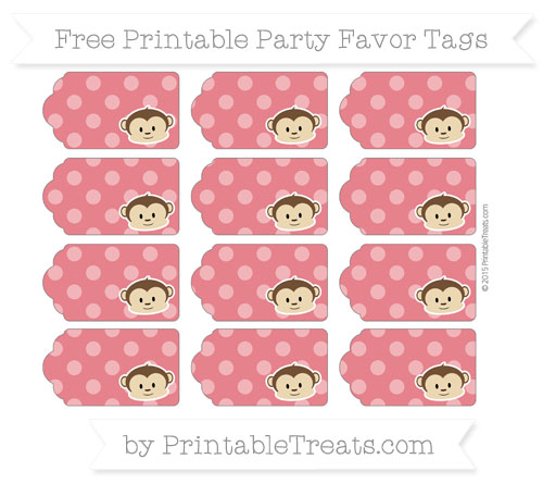 Free Lava Red Dotted Pattern Boy Monkey Party Favor Tags