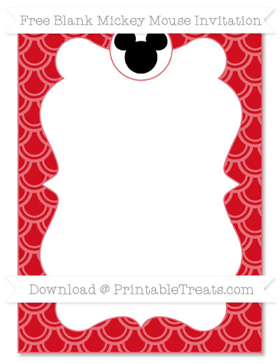 Free Lava Red Fish Scale Pattern Blank Mickey Mouse Invitation