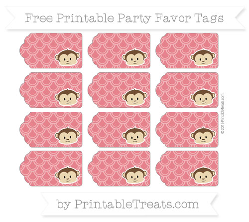 Free Lava Red Fish Scale Pattern Boy Monkey Party Favor Tags