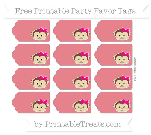 Free Lava Red Girl Monkey Party Favor Tags