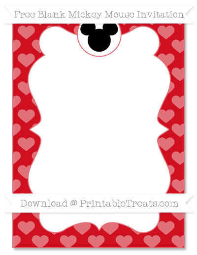Free Lava Red Heart Pattern Blank Mickey Mouse Invitation