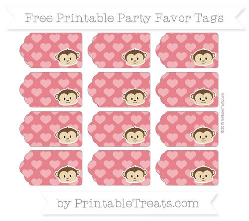 Free Lava Red Heart Pattern Boy Monkey Party Favor Tags