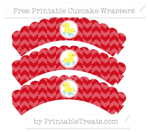 Free Lava Red Herringbone Pattern Baby Duck Scalloped Cupcake Wrappers