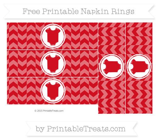 Free Lava Red Herringbone Pattern Baby Onesie Napkin Rings