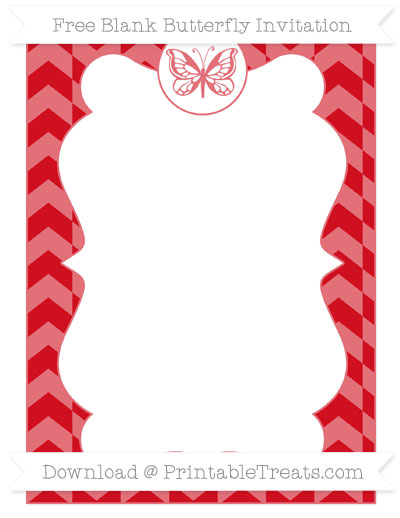 Free Lava Red Herringbone Pattern Blank Butterfly Invitation
