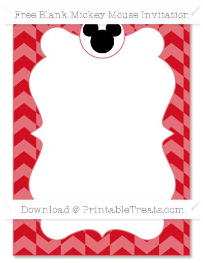 Free Lava Red Herringbone Pattern Blank Mickey Mouse Invitation