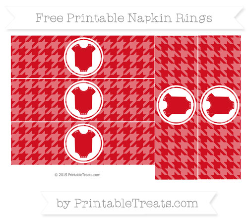 Free Lava Red Houndstooth Pattern Baby Onesie Napkin Rings