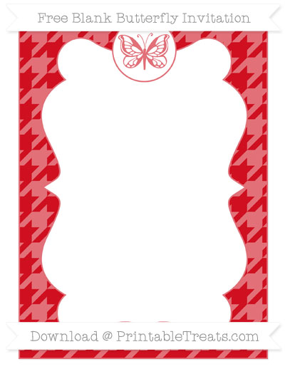 Free Lava Red Houndstooth Pattern Blank Butterfly Invitation