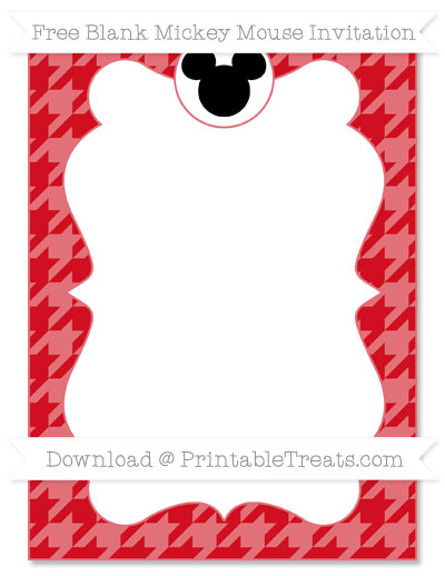 Free Lava Red Houndstooth Pattern Blank Mickey Mouse Invitation