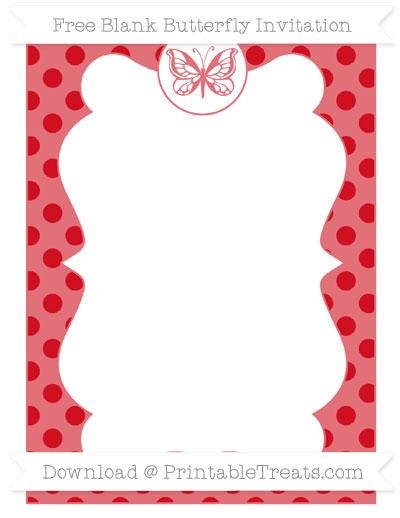 Free Lava Red Polka Dot Blank Butterfly Invitation