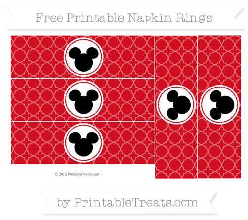 Free Lava Red Quatrefoil Pattern Mickey Mouse Napkin Rings