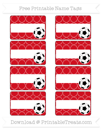 Free Lava Red Quatrefoil Pattern Soccer Name Tags