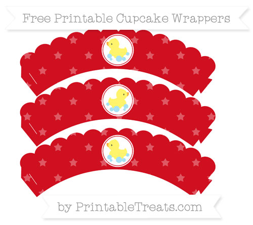 Free Lava Red Star Pattern Baby Duck Scalloped Cupcake Wrappers