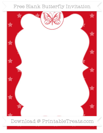 Free Lava Red Star Pattern Blank Butterfly Invitation