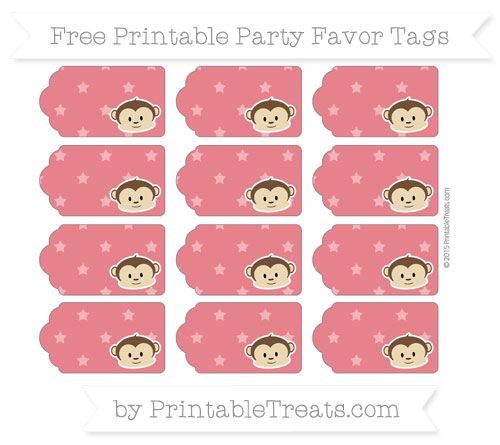 Free Lava Red Star Pattern Boy Monkey Party Favor Tags