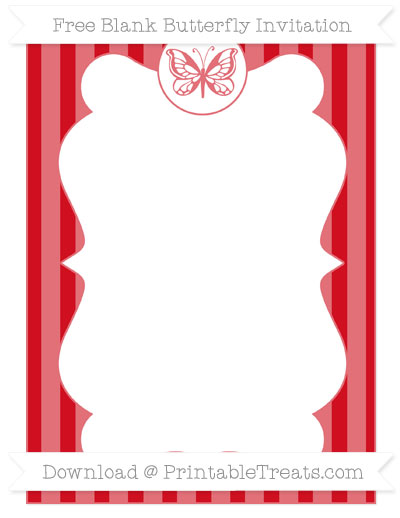 Free Lava Red Striped Blank Butterfly Invitation