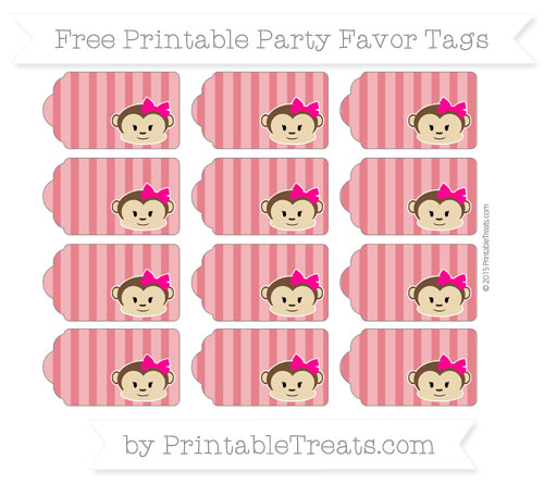 Free Lava Red Striped Girl Monkey Party Favor Tags