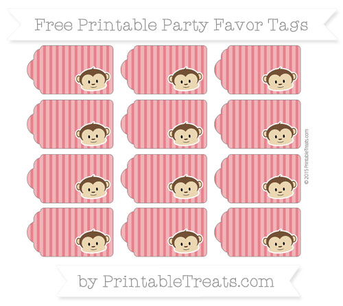 Free Lava Red Thin Striped Pattern Boy Monkey Party Favor Tags