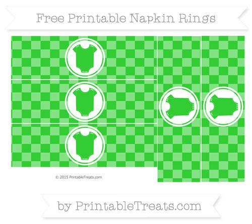Free Lime Green Checker Pattern Baby Onesie Napkin Rings