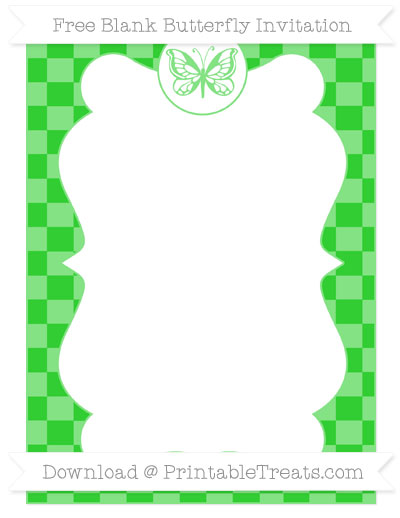 Free Lime Green Checker Pattern Blank Butterfly Invitation