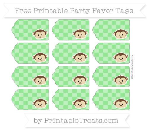 Free Lime Green Checker Pattern Boy Monkey Party Favor Tags