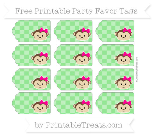 Free Lime Green Checker Pattern Girl Monkey Party Favor Tags