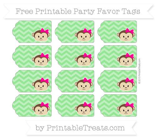Free Lime Green Chevron Girl Monkey Party Favor Tags