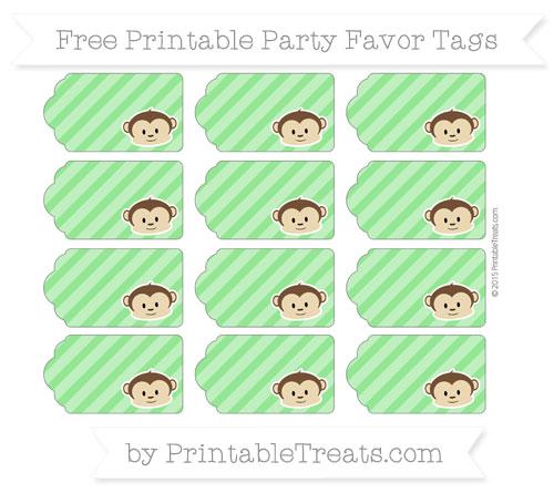 Free Lime Green Diagonal Striped Boy Monkey Party Favor Tags