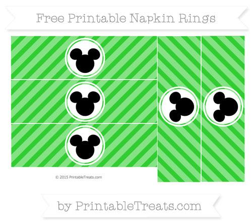 Free Lime Green Diagonal Striped Mickey Mouse Napkin Rings
