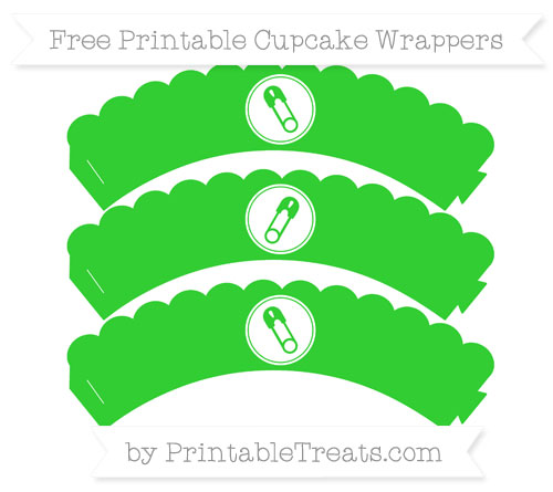 Free Lime Green Diaper Pin Scalloped Cupcake Wrappers