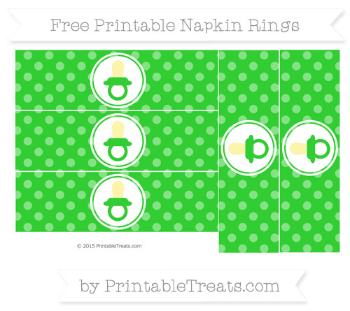 Free Lime Green Dotted Pattern Baby Pacifier Napkin Rings