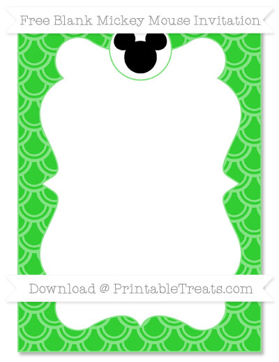 Free Lime Green Fish Scale Pattern Blank Mickey Mouse Invitation