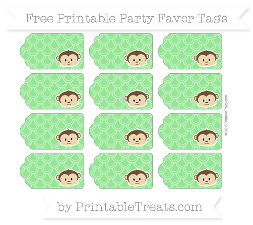 Free Lime Green Fish Scale Pattern Boy Monkey Party Favor Tags