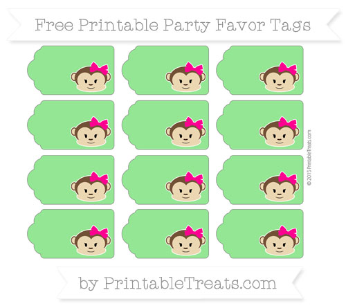 Free Lime Green Girl Monkey Party Favor Tags