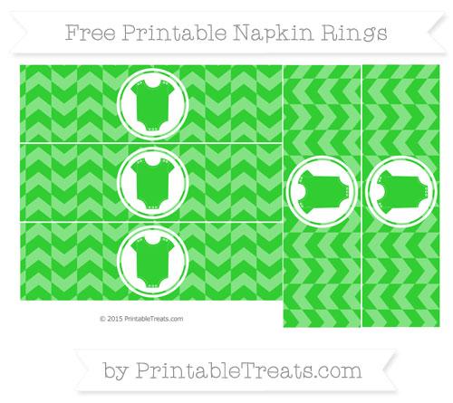 Free Lime Green Herringbone Pattern Baby Onesie Napkin Rings