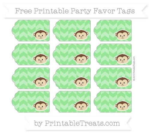 Free Lime Green Herringbone Pattern Boy Monkey Party Favor Tags