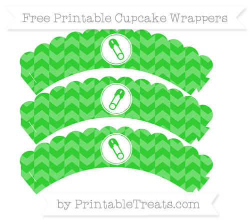 Free Lime Green Herringbone Pattern Diaper Pin Scalloped Cupcake Wrappers
