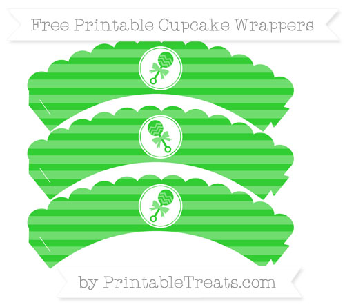 Free Lime Green Horizontal Striped Baby Rattle Scalloped Cupcake Wrappers