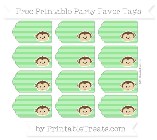 Free Lime Green Horizontal Striped Boy Monkey Party Favor Tags