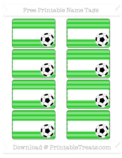 Free Lime Green Horizontal Striped Soccer Name Tags