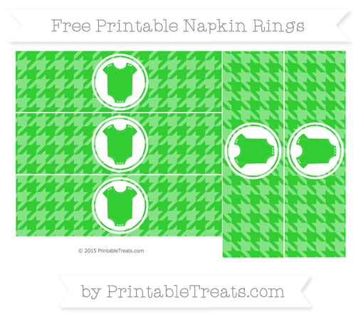 Free Lime Green Houndstooth Pattern Baby Onesie Napkin Rings