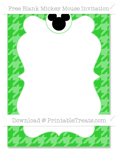 Free Lime Green Houndstooth Pattern Blank Mickey Mouse Invitation