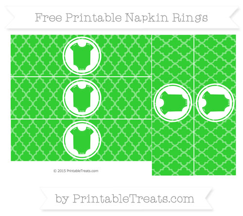 Free Lime Green Moroccan Tile Baby Onesie Napkin Rings