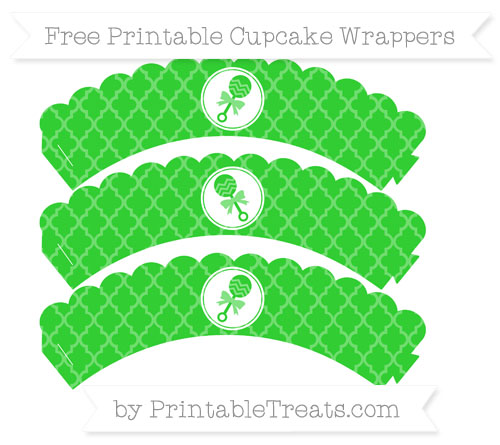 Free Lime Green Moroccan Tile Baby Rattle Scalloped Cupcake Wrappers