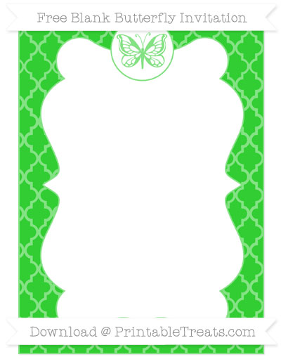 Free Lime Green Moroccan Tile Blank Butterfly Invitation