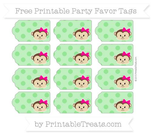 Free Lime Green Polka Dot Girl Monkey Party Favor Tags