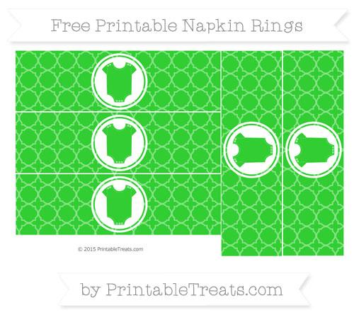 Free Lime Green Quatrefoil Pattern Baby Onesie Napkin Rings